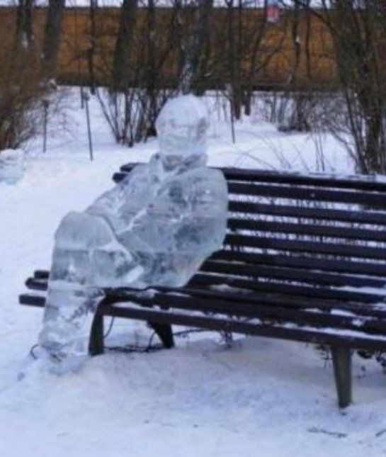 Bench Man Ice Sculpture