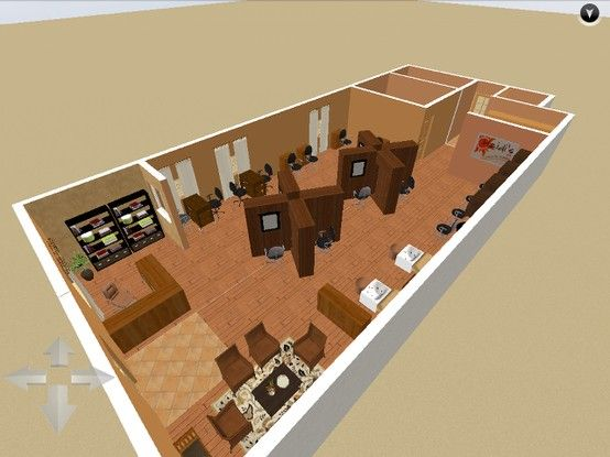 3d Floor Plan Idea Interior Designs By Isaac S Salon Interior Design Hair Salon Design Barbershop Design