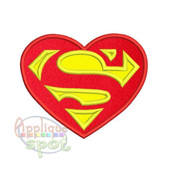 Valentine S Day Heart Superman Logo Baby Boy Girl By Appliquespot Applique Designs Superman Logo Machine Embroidery
