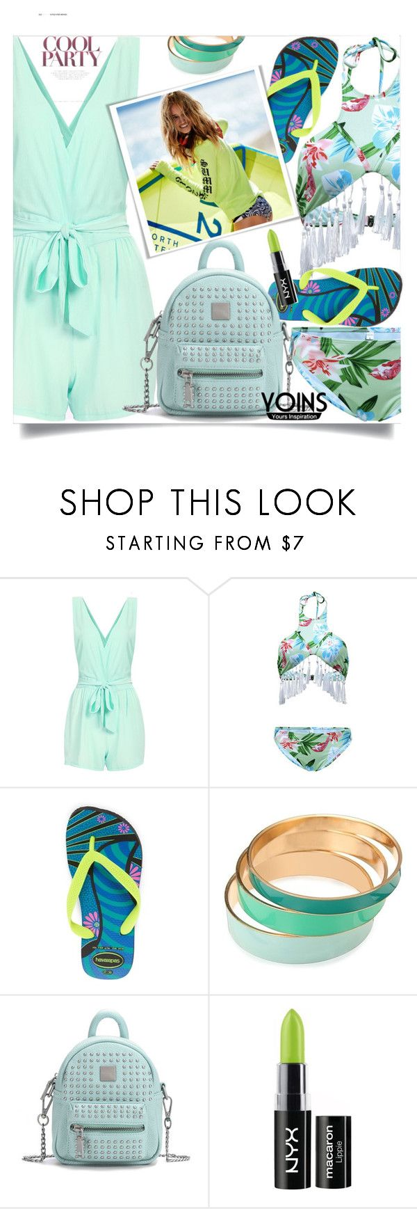 """Yoins 5"" by mell-2405 ❤ liked on Polyvore featuring Havaianas, NYX, yoins, yoinscollection and loveyoins"