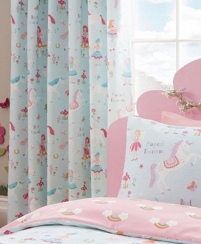 Unicorn And Rainbows Curtains Fairies Flowers Shared Room In