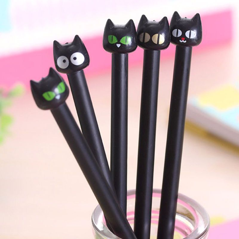 2pcs Cartoon Cat Long Tail Black Gel Ink Pen Stationery School Supplies Kids Gif