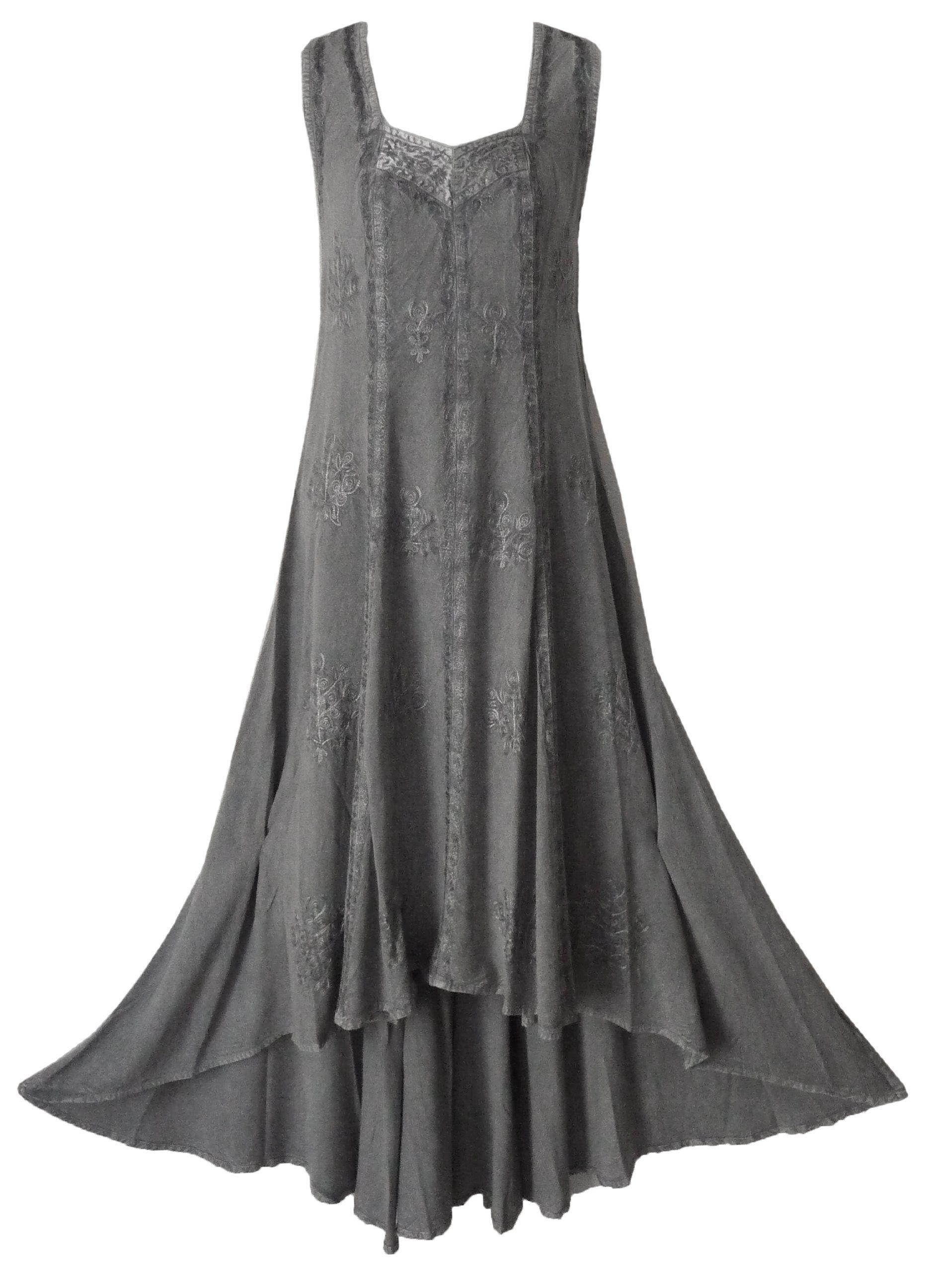 e662a266e41 Braja Women's Sleeveless Rayon High Low Hem and Hand Embroidery Dress at Amazon  Women's Clothing store: