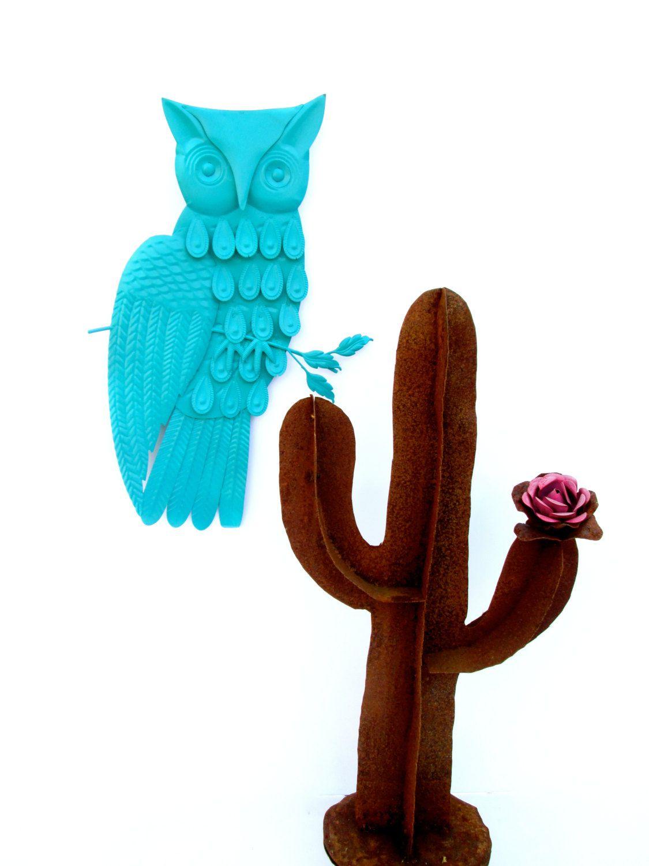 Vintage midcentury large turquoise metal owl cute retro modern