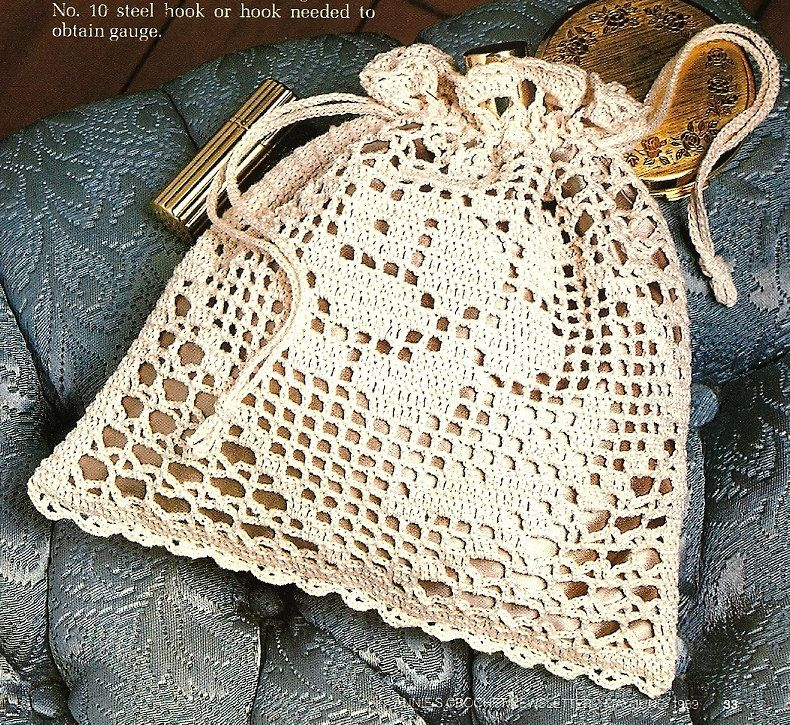 Victorian Crochet Purses Patterns | X684 Filet Crochet PATTERN ONLY ...