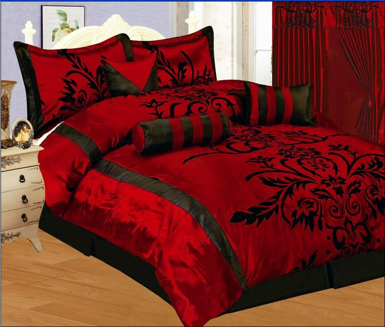 Details About 7pc Queen Size Modern Burgundy Red Black Flock Satin Comforter Set Bed In A Bag Red Bedding Sets Red Bedding Red Bedroom Decor