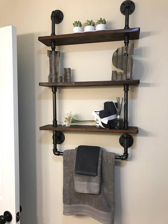 Bathroom shelves with towel rack, Reclaimed Wood, Industrial Pipe, Rustic, Industrial, Shabby...