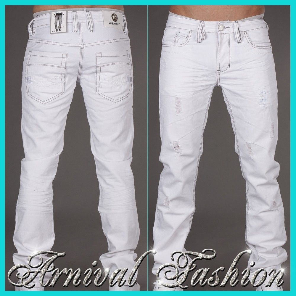 Details about NEW RIPPED WHITE JEANS FOR MEN JEAN PANTS MENS WEAR ...