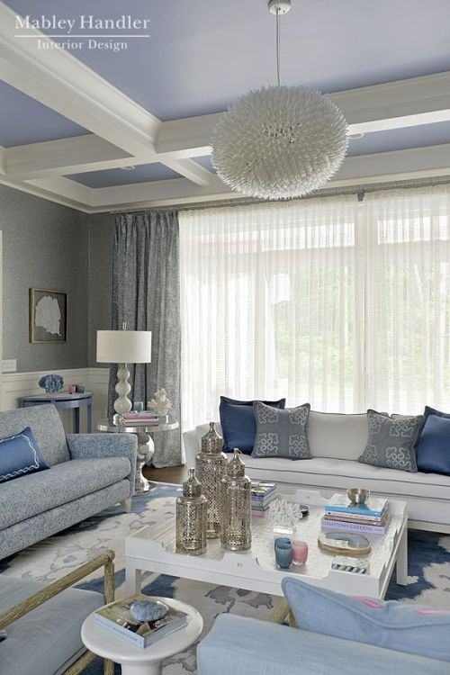 Rustic Grey, Blue And White Living Room