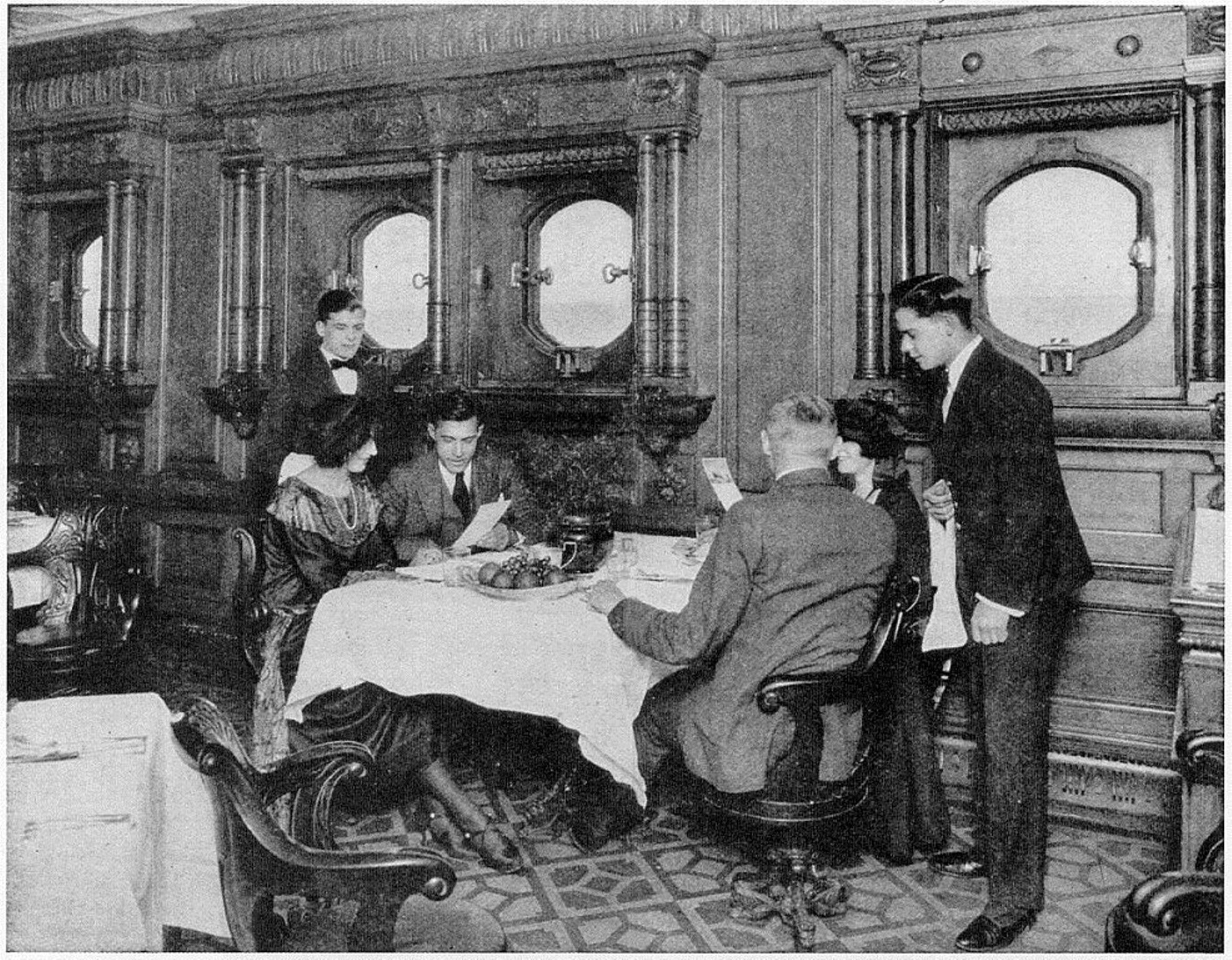the second class dining saloon RMS Olympic in the windows you can see the  line of. the second class dining saloon RMS Olympic in the windows you can