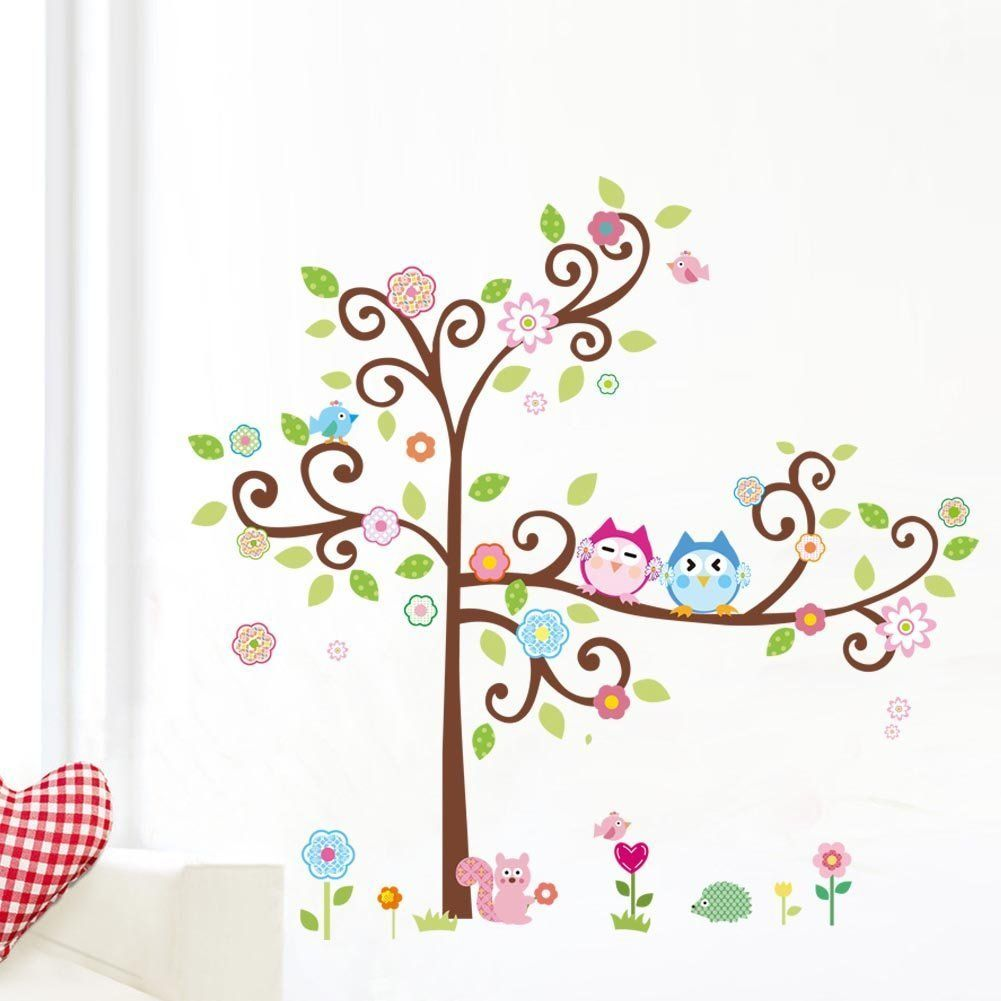 Colorful Flower And Owls On The Tree Cartoon Wall Decor Sticker, Removable Decals For Kids Room Decoration, For Living Room