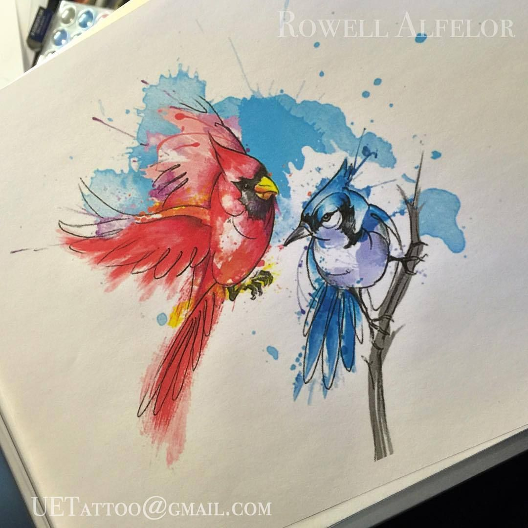 Urban Element Tattoo Abstract Watercolor Cardinal And Bluejay