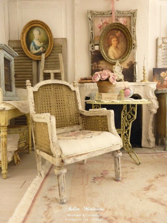 Marie-Antoinette Miniature French Armchair Louis Xvi, Cane Imitation