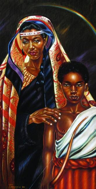 Hagar And Ishmael By Alan Jones Blacks In The Bible Black Art Pictures Black Women Art