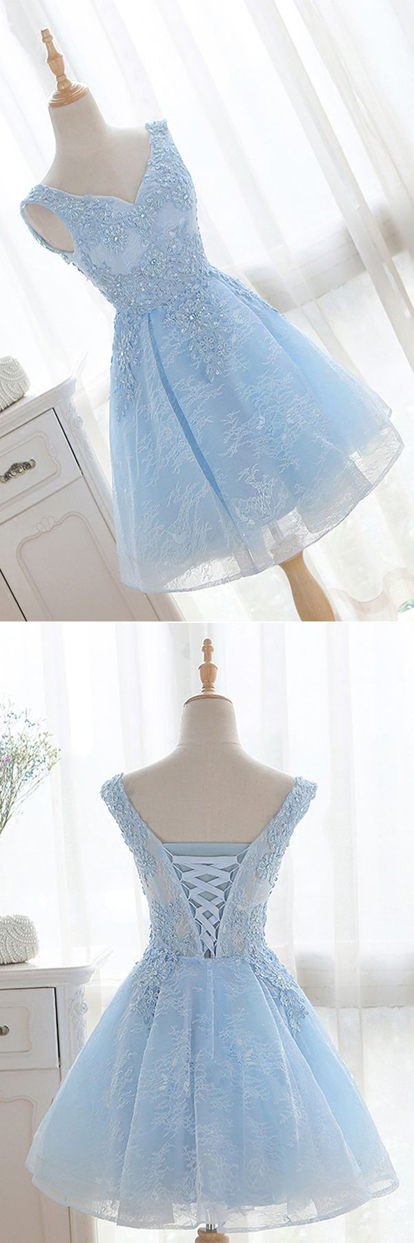 Vneck sky blue lace homecoming dressesed in best