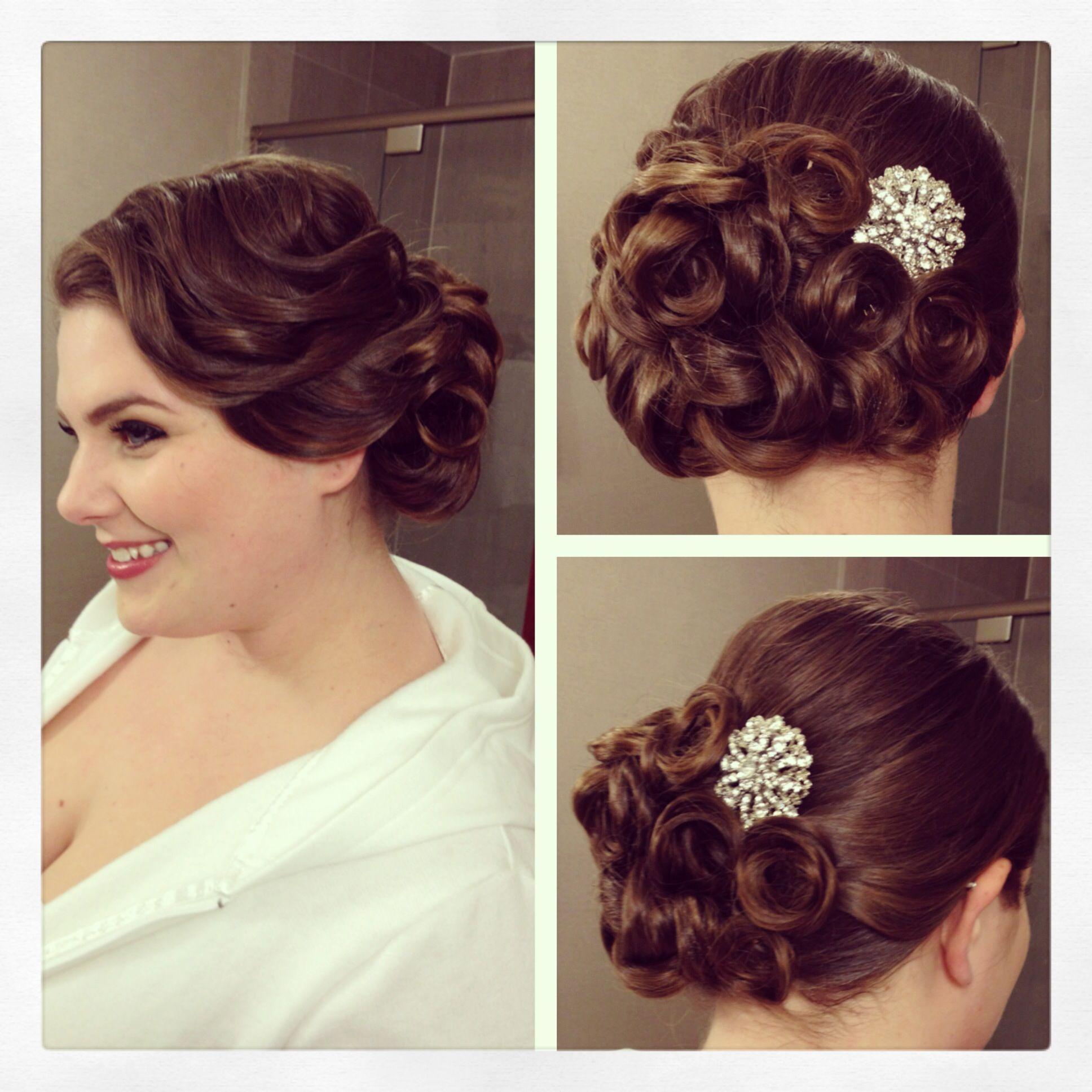 vintage side updo, vintage hairstyle, pin curls, bridal hair
