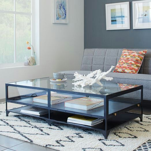 See Through Coffee Table Inspired By A Museum Display Case The Shadow Box Combines Airy Beauty Of Gl With Sy Iron Base In Dark