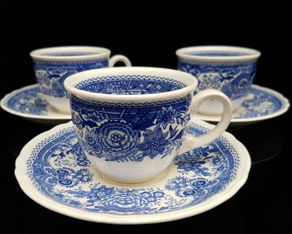 Set of 5 VILLEROY & BOCH 'Burgenland' Blue and White Porcelain Mocca or Espresso Cups with Saucers // German Transferware