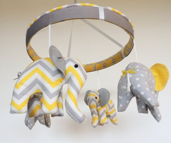 Grey Yellow Baby MobileChevron Elephant MobileCustom by MemeFleury