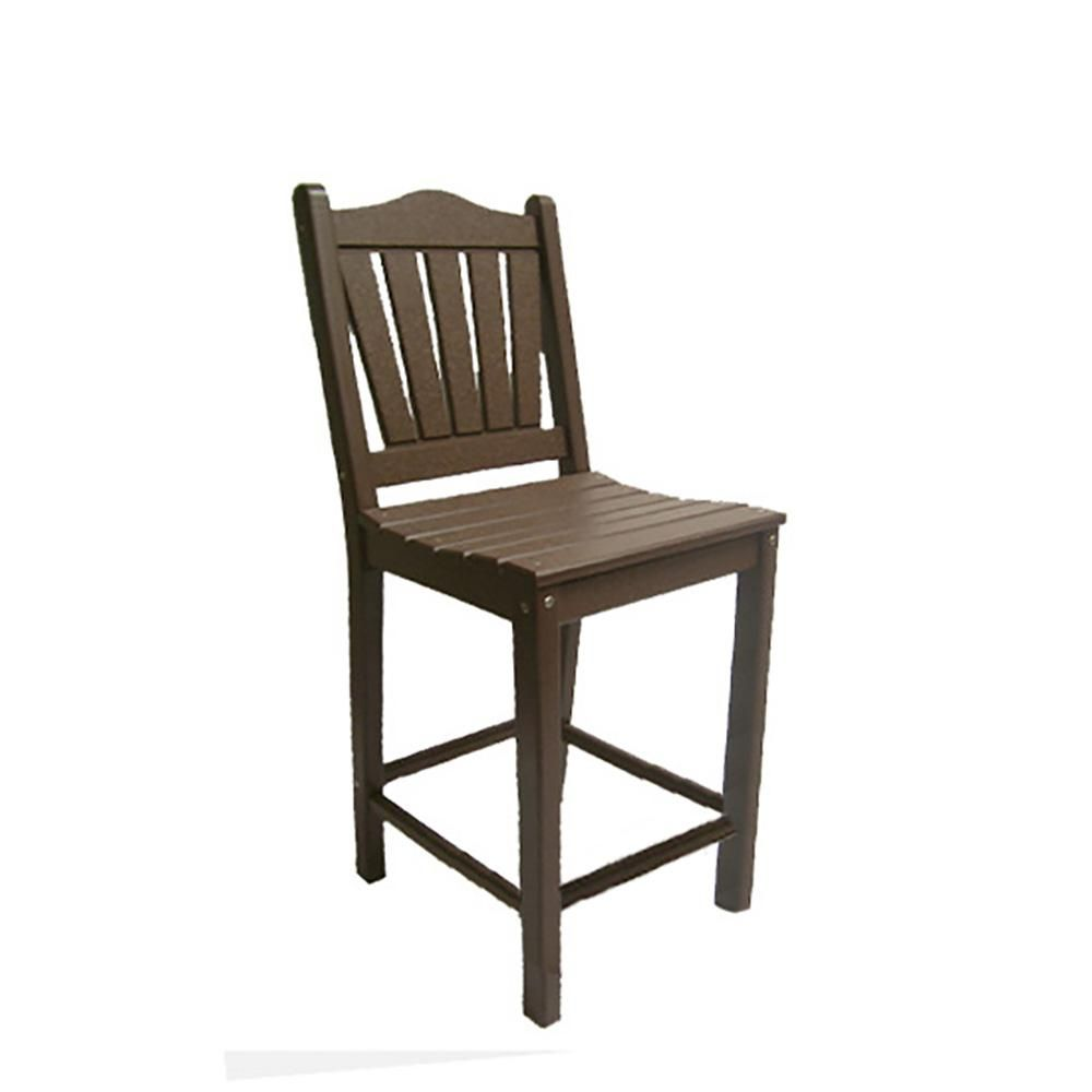 Perfect Choice Mocha Plastic Counter Height Outdoor Bar Stool
