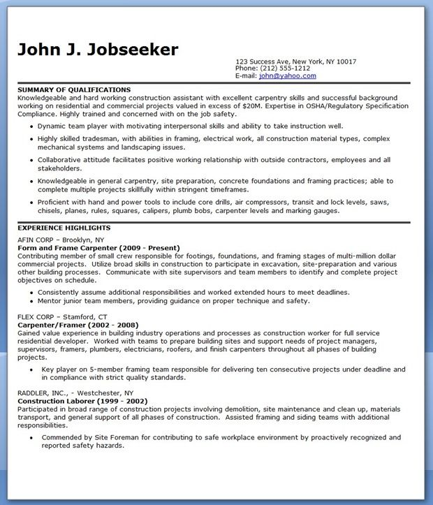 Construction Assistant Resume Creative Resume Design Templates - dj resume