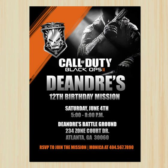 Call of duty black opps birthday printable by chenillepartydecor call of duty black opps ii custom birthday invitation filmwisefo Image collections