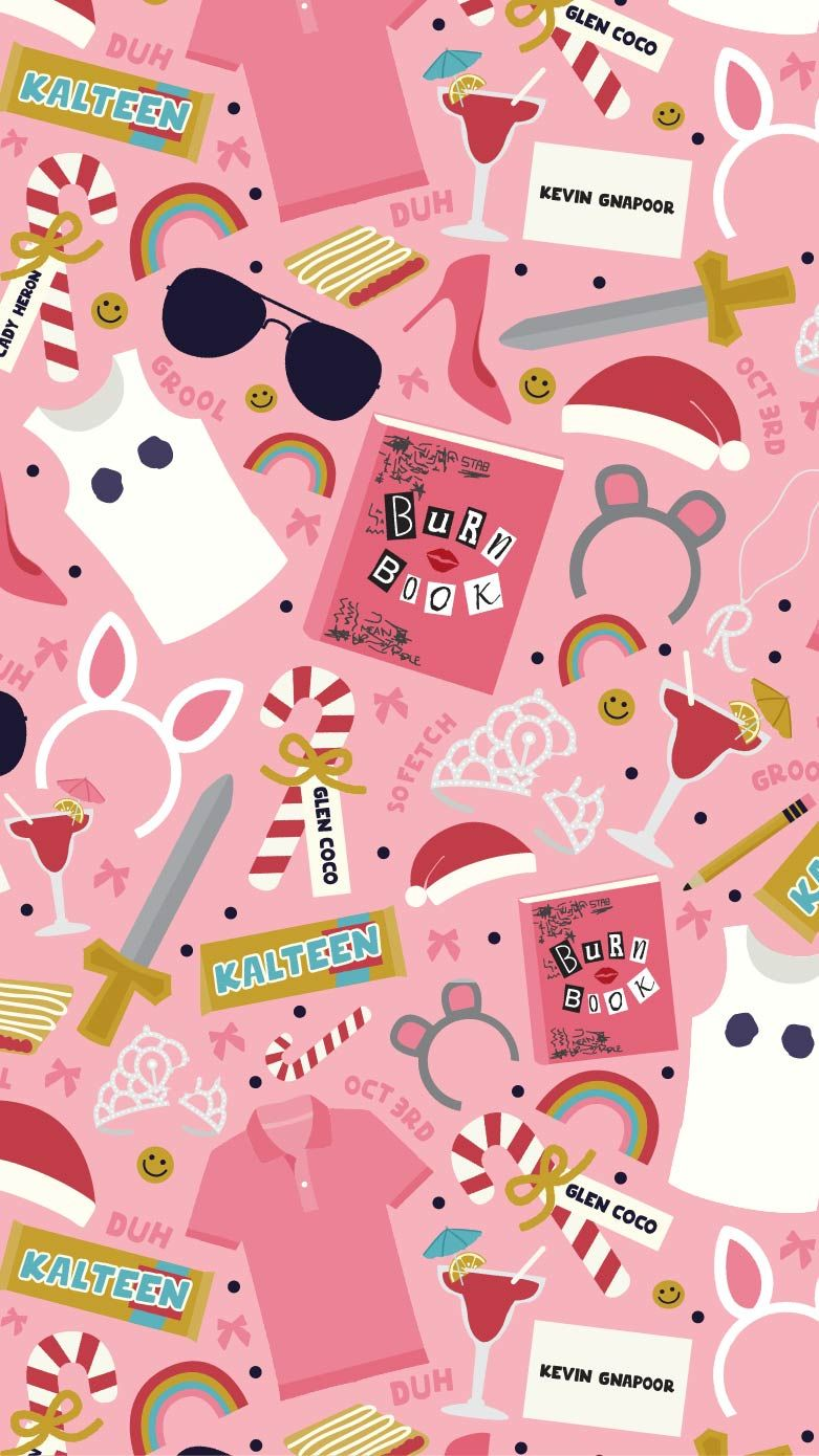 mean girls inspired pattern - free iphone wallpaper - three cheers +
