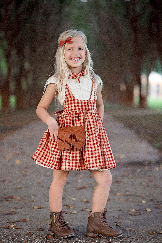 Girls pinafore plaid pinafore red pinafore cotton dress