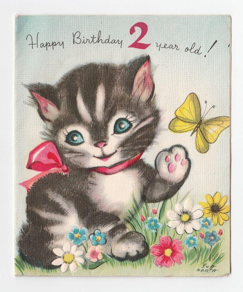 Vintage greeting card cute cat birthday age 2 year old artist signed vintage greeting card cute cat birthday age 2 year old artist signed eva harta kristyandbryce Gallery