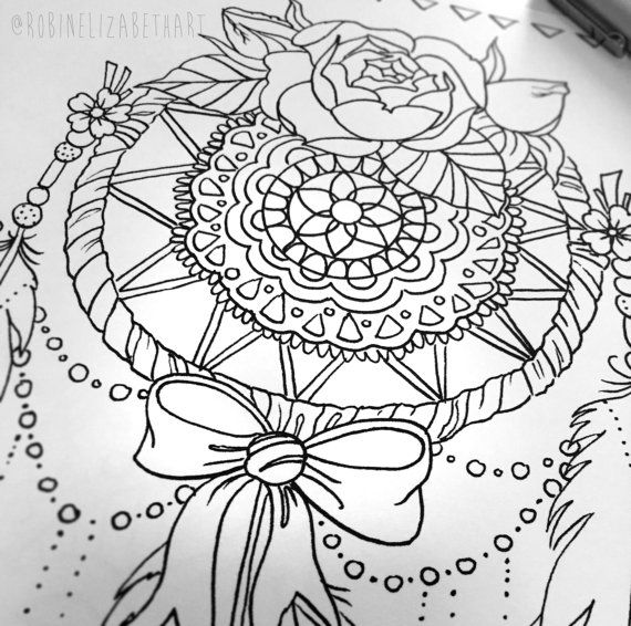 Lace Dream Catcher Coloring Page - Instant Download Print ...