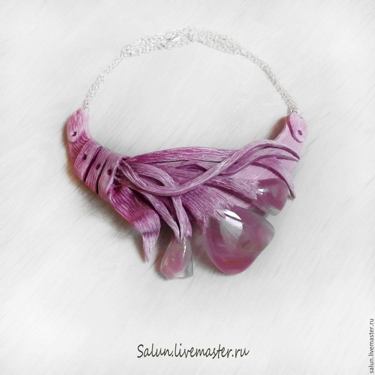 Купить Колье Розовая дымка из полимерной глины и стекла - купить колье, колье со стеклом