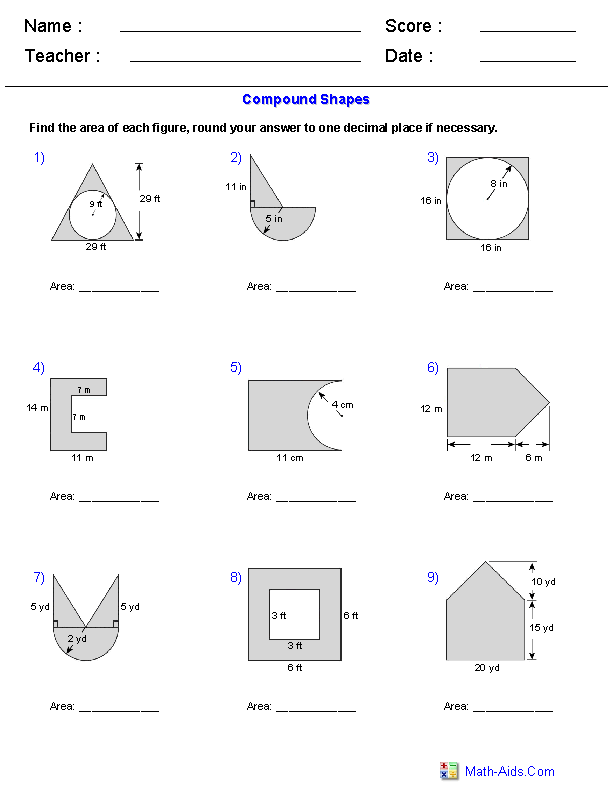 Area of Compound Shapes Adding and Subtracting Regions Worksheets – Area of Composite Figures Worksheets