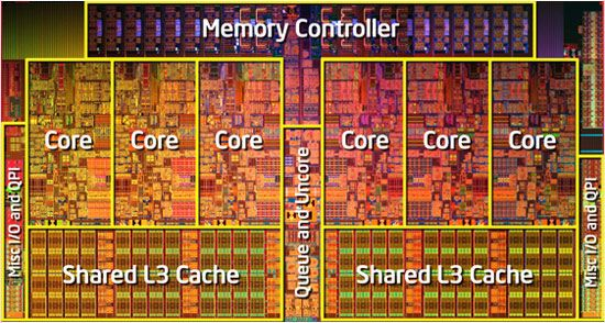 The inside of Intel Core i7-980X Six-Core Processor Extreme