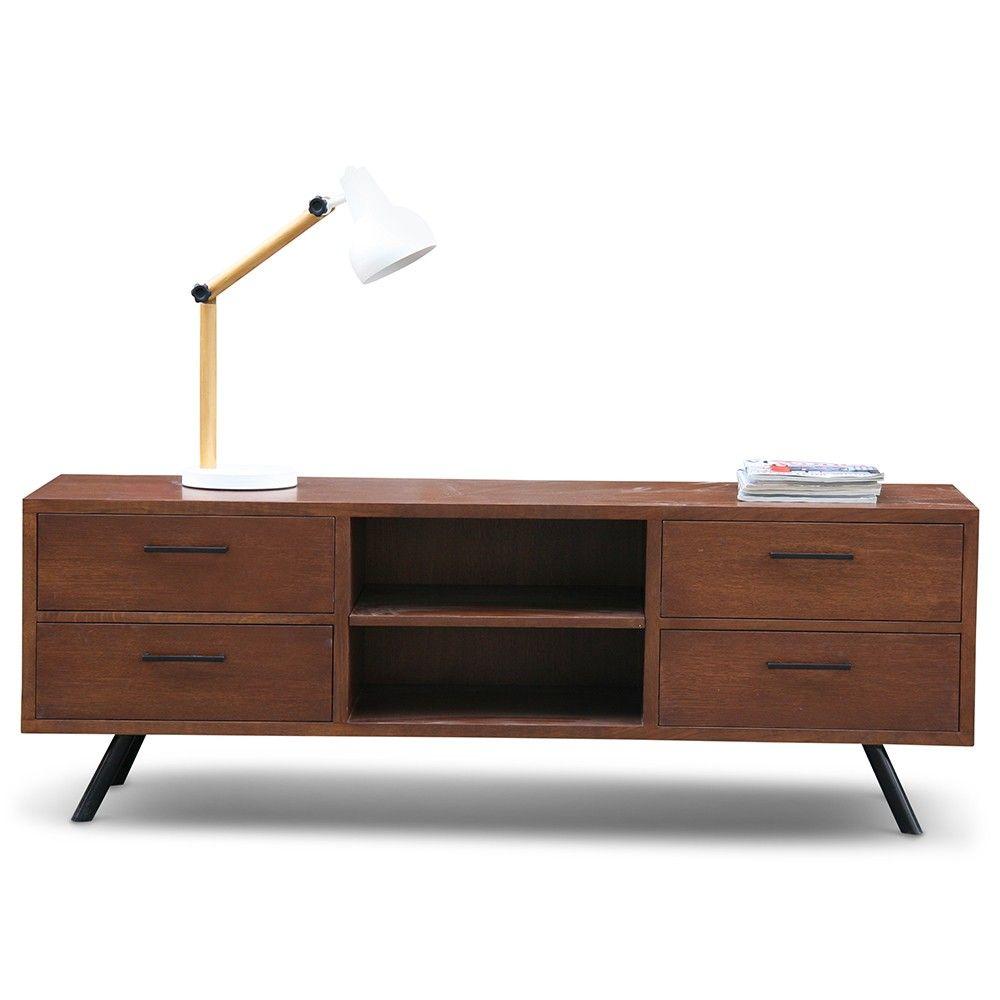 Tv dressoir vintage black zen lifestyle woonkamer for Dressoir design