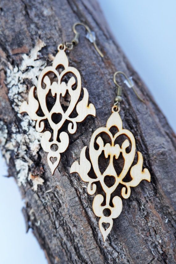 Wood Earrings / vintage women jewelry / Filigree by Lubawastyle