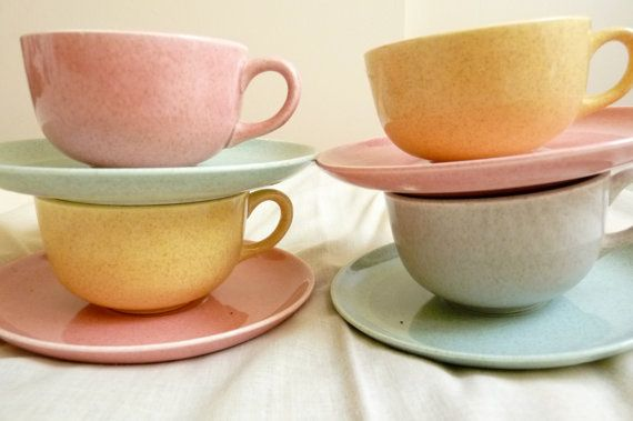 set of 4 vintage 60's cups and saucers mix by sunkissedhighways, $60.00