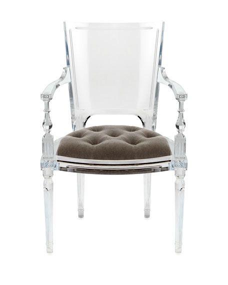 acrylic side chair with cushion cream bean bag katherine armchair horchow 6100 furnishings chairs