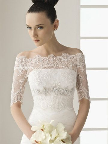 bridal jackets | Wedding lace jacket off shoulder ...