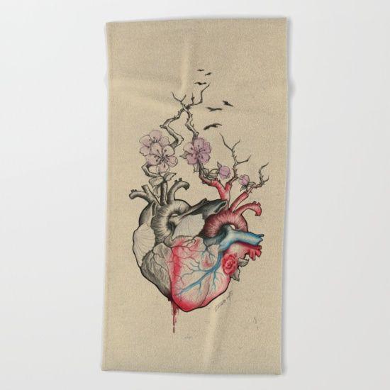 #towel #beachtowel #love #hearts #anatomicalheart #illustration #home