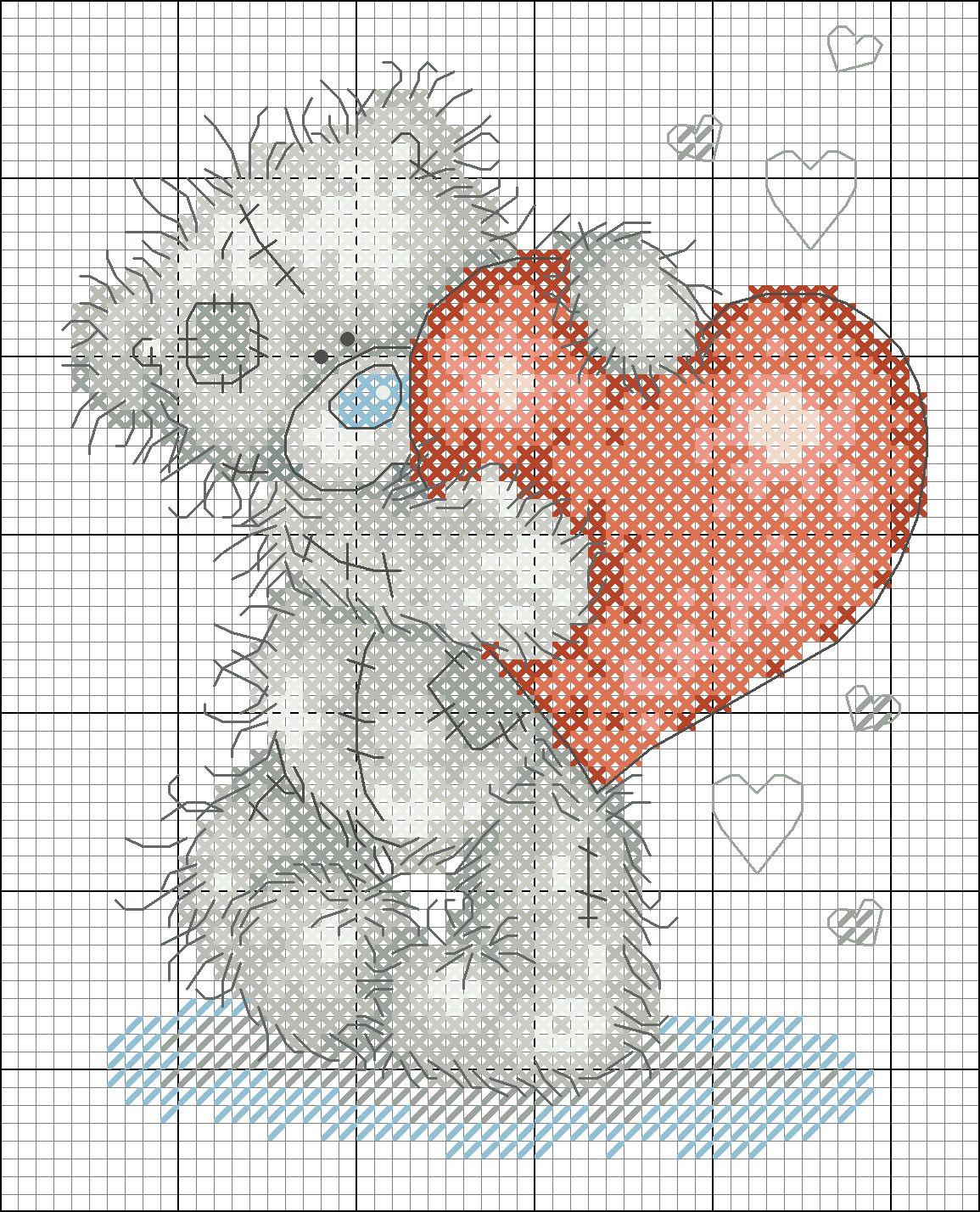 Вышивка крестом схемы мишки-тедди