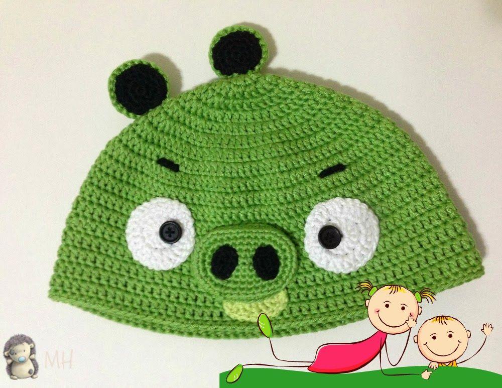 Gorro a Crochet Bad Piggy (de Angry Bird), Patrón Gratis | Crochet ...