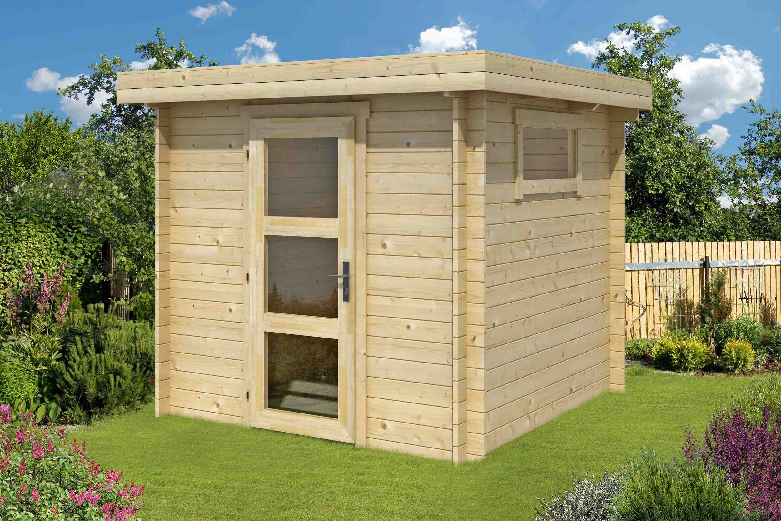 Klein und äußerst praktisch das Flachdach Gartenhaus