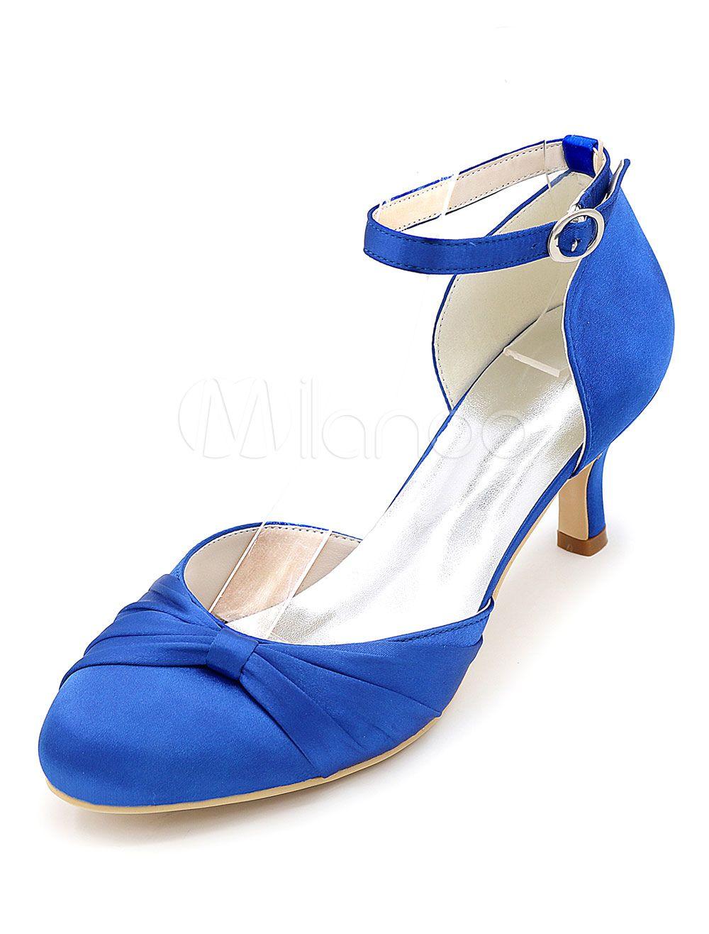 28da9ec378c Ivory Bridal Shoes Satin High Heel Round Toe Ankle Strap Kitten Heel Pumps  For Wedding