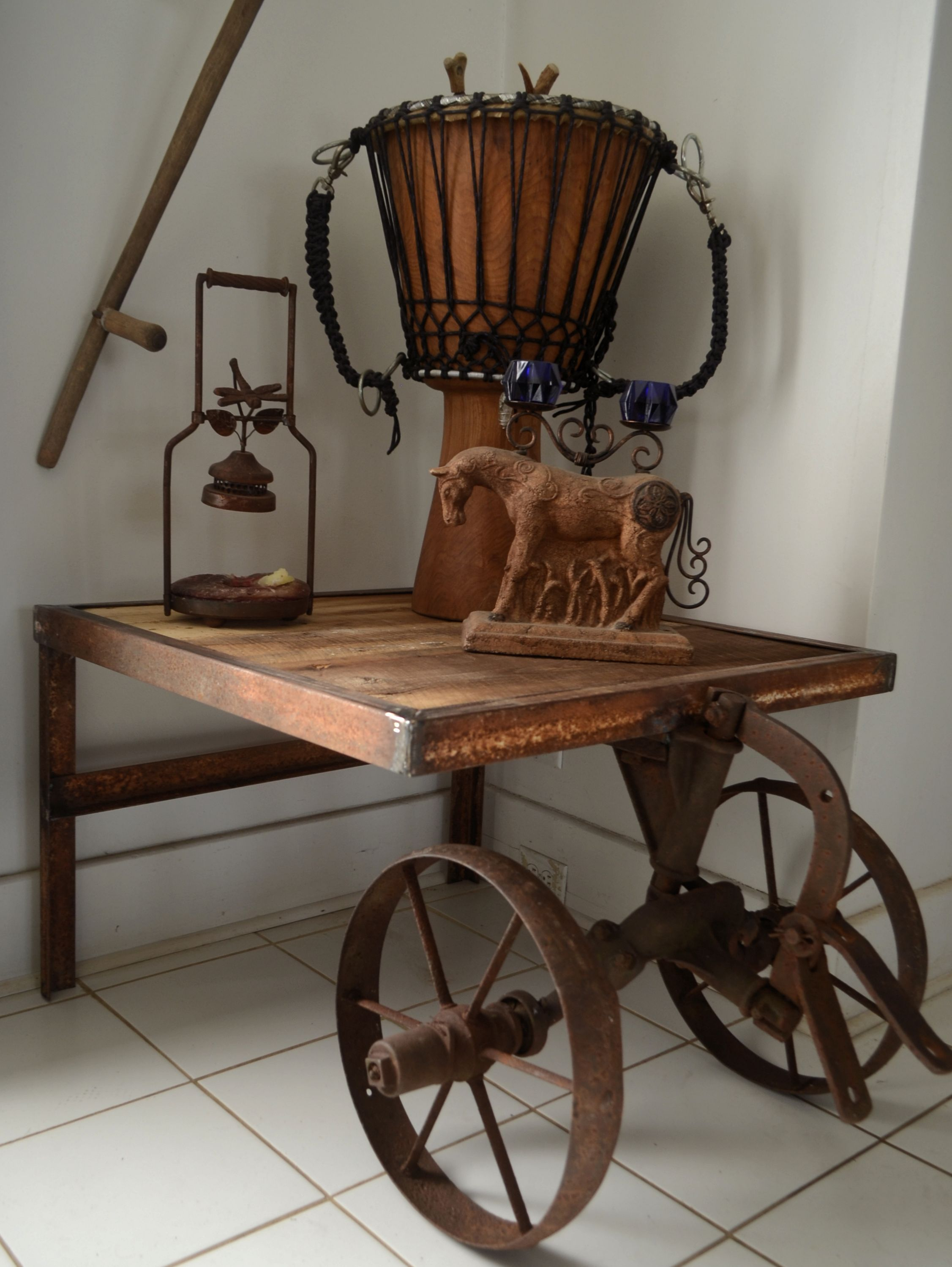 Repurposed Antique Barn Wood And Farm Equipment Table