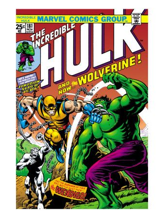 Marvel Comics Retro: The Incredible Hulk Comic Book Cover No.181, with Wolverine and the Wendigo Art Print at AllPosters.com