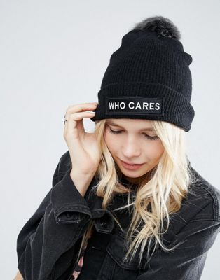 7b33854a428 7240678-1-black who cares beanie Asos