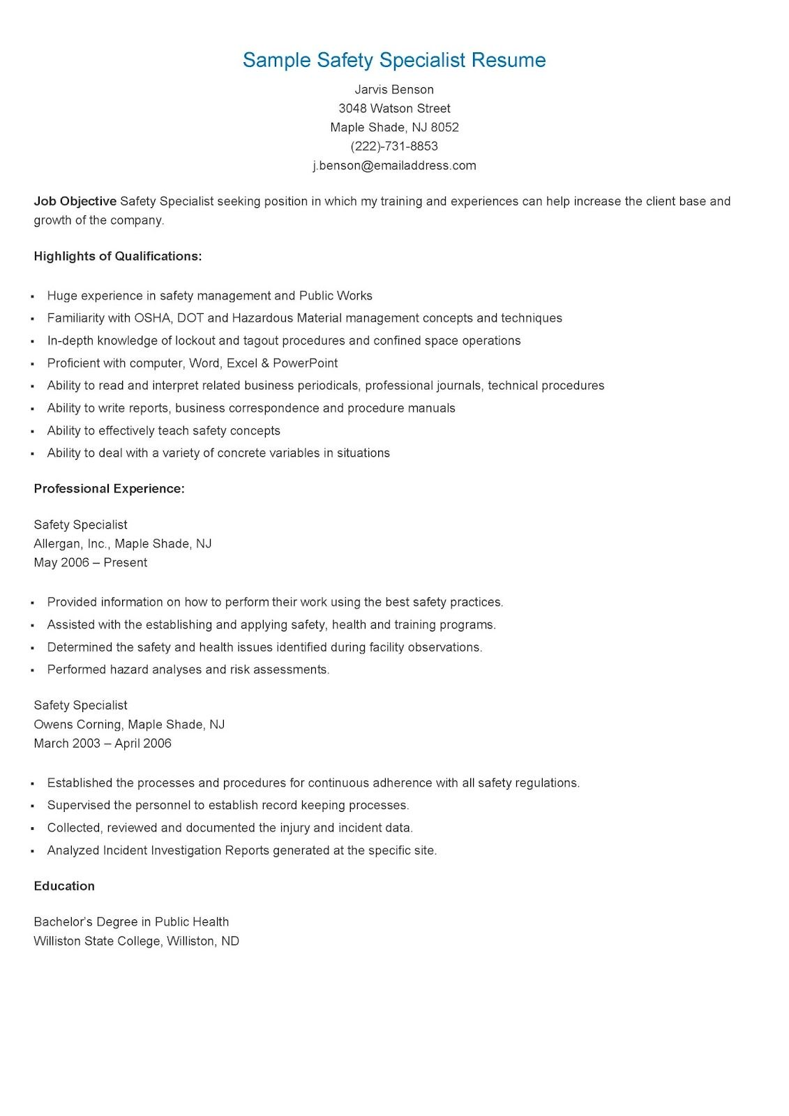 Sample Safety Specialist Resume