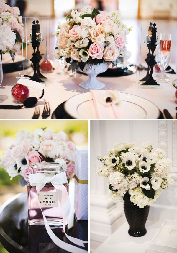 Party Theme Chanel Inspired Bridal Shower Black White Decor