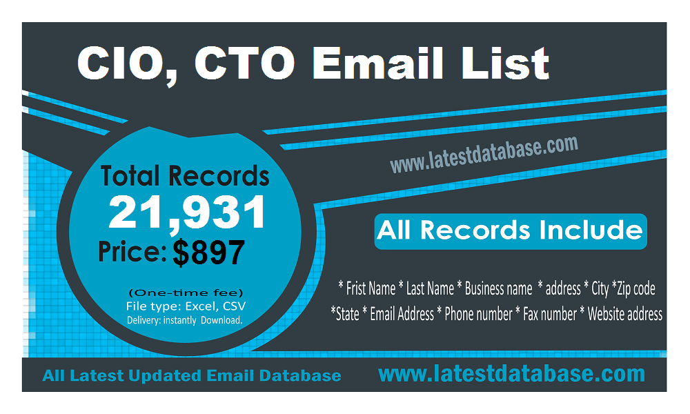 Canadian CTO CIO Email Lists | Industrial Supplies Buyers