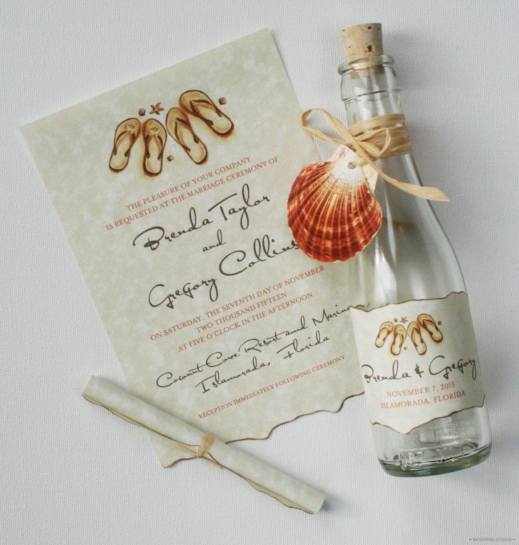 Message In A Bottle Wedding Invitations Destination Flip Flops